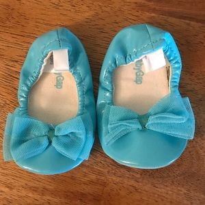 Tiffany blue baby girl ballet slippers w/tulle bow